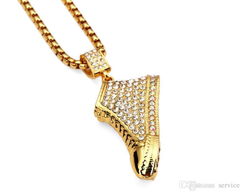 Mode 18K Gold Plate Cristal Chaussures Pendentif Colliers Couleur Or HIPHOP Crystal Hommes Pendentif Colliers 2017 Juillet Style