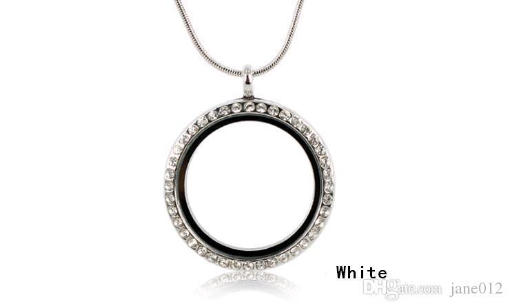 Round Magnetic Floating Locket Glass Living Memory Locket Pendant with Rhinestone diy photo box Hot Sale Mix 30mm