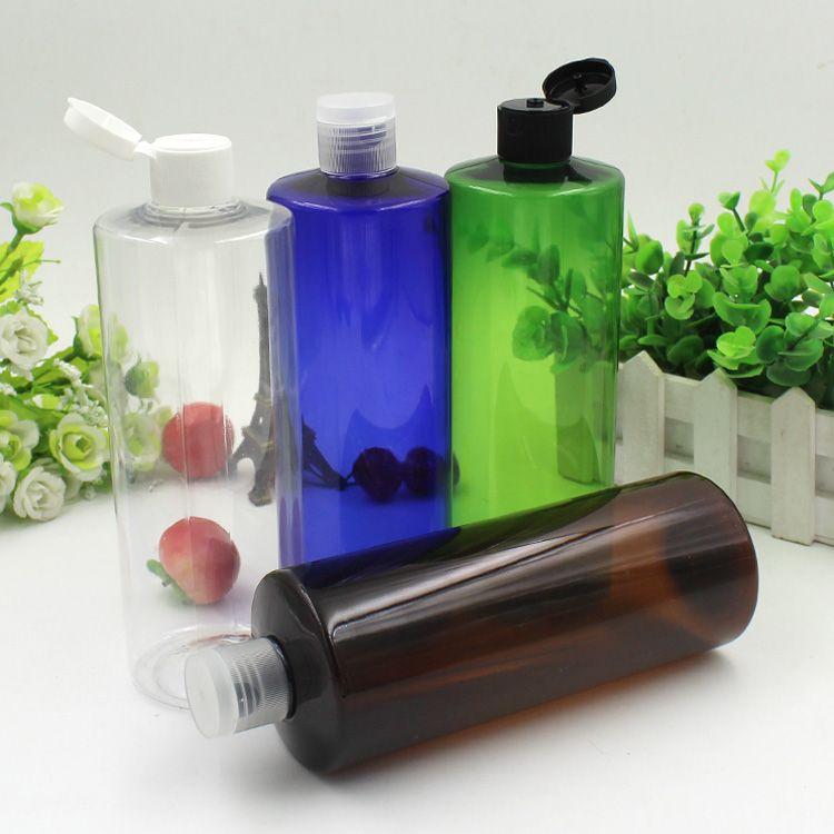 Косметические бутылки с плоским плечом и крышкой сальто Heathy любимчика образца распределителя сливк, емкость контейнера шампуня 500ml 12PSC