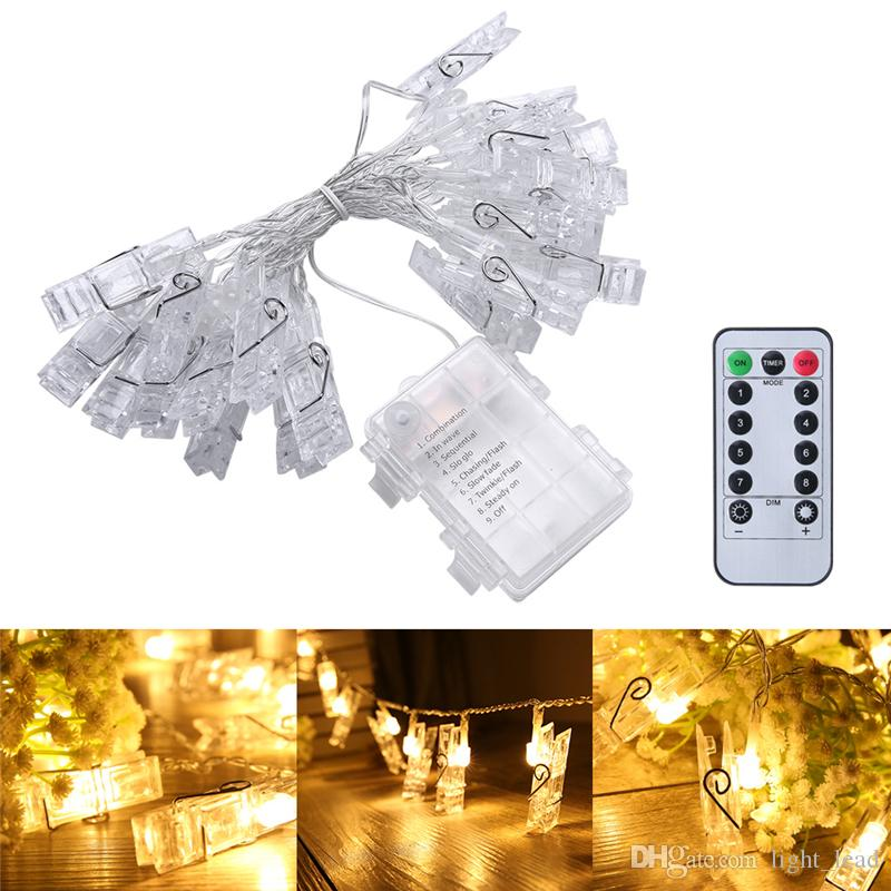 5m 40 led photo hanging clips string light battery operated remote control dimmable photo display starry lamp with 8 modes for hang picture string party