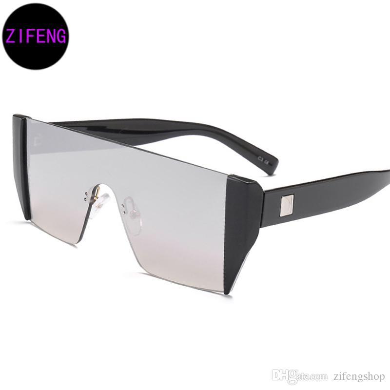 f7c9bbd2556b Z F New Hip Hop Fashion Brand Designer Sunglasses Men Women Mirror Sun  Glasses Lady Flat Oversized Size Eyeglas UV400 17097 Designer Eyeglasses  Womens ...