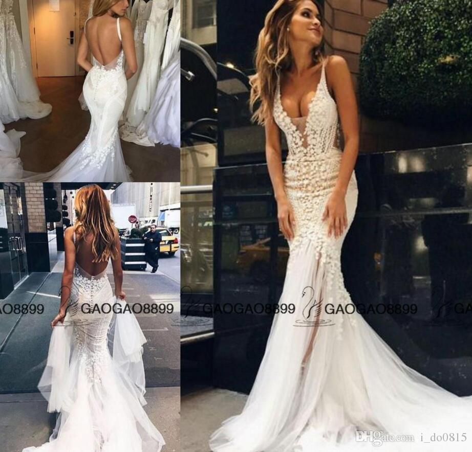 Pallas Couture 2017 Lace Floral Long Train Mermaid Beach Wedding ...