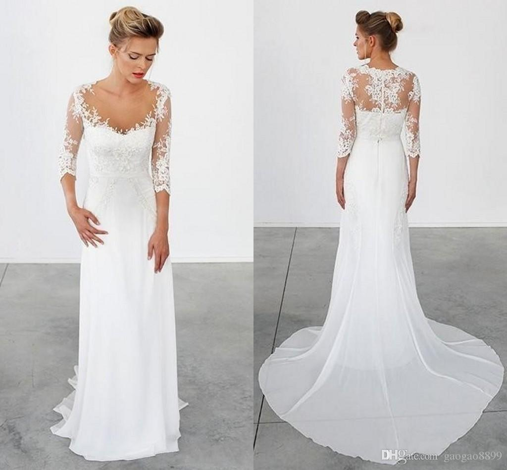 2019 Simple Chiffon Sheath Wedding Dresses Scoop Neck Cap 3 4 Sleeve with Lace Appliques Hollow Back Sweep Train Simple Cheap Dress DTJ