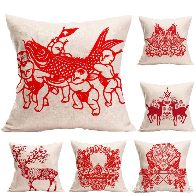 Decorative Throw Pillow Cover For Red Spring Festival Lunar New Year Mesmerizing Clear Plastic Throw Pillow Covers