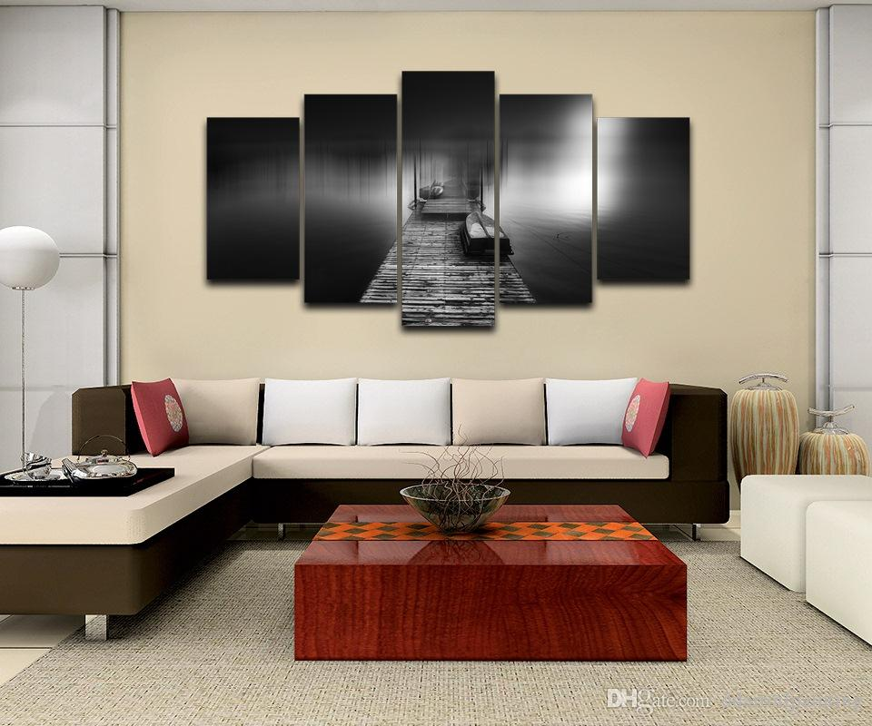 "Wooden Pier Bridge LARGE 60""x32"" 5Panels Art Canvas Print for Wall Modern Home Decor interior No Frame"