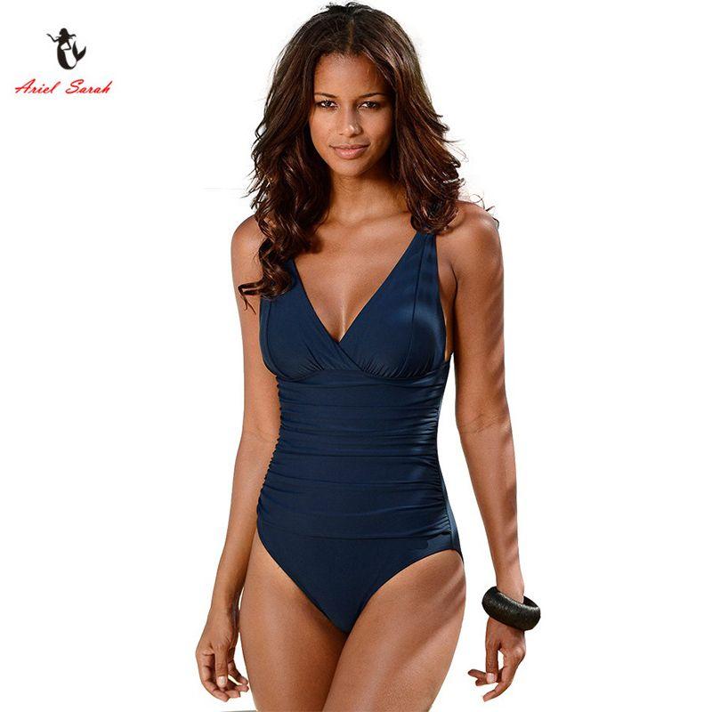 b2a6cd679e Ariel Sarah Brand 2017 Hot Sales One Piece Swimsuit Swimwear Women Plus  Size Swimwear Solid Swimsuit Sexy Monokini BikinisQ045 Swimwear for Women  Bikinis ...
