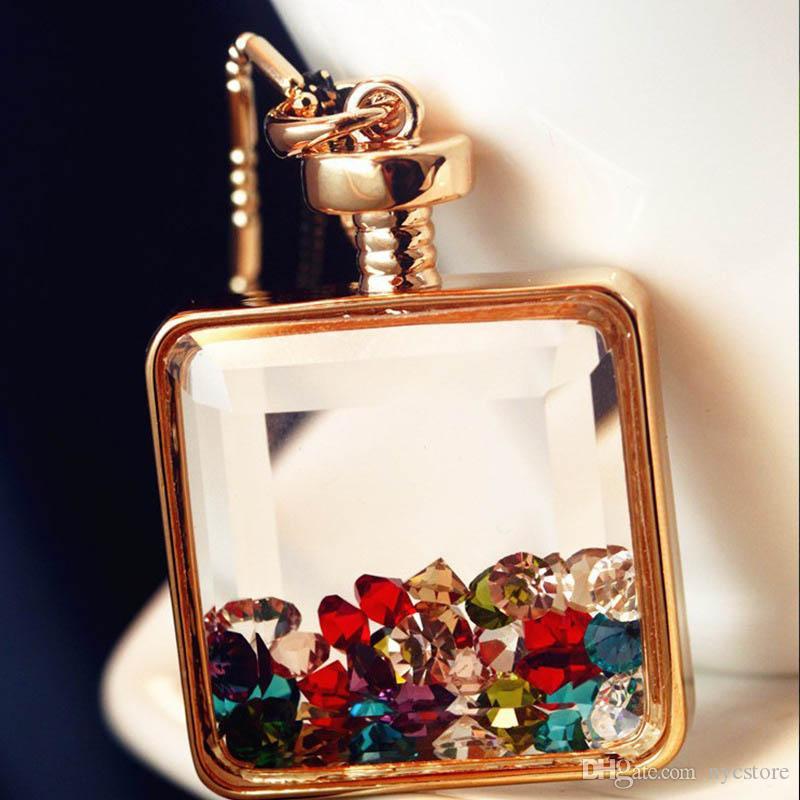 Şeffaf Avusturya Kristal Parfüm Şişesi Kadınlar Için Altın Kaplama Moda Kolye Kolye Uzun Zincir Kolye