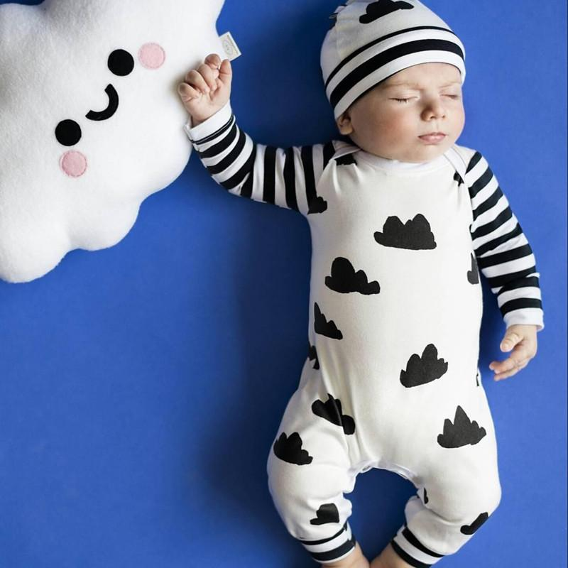 8a9a79e66536 2019 Wholesale 2017 Autumn Baby Boy Girl Clothes Unisex White Clouds Cotton Long  Sleeved Baby Romper + Hat Jumpsuit Newborn Baby Clothing Set From Beasy