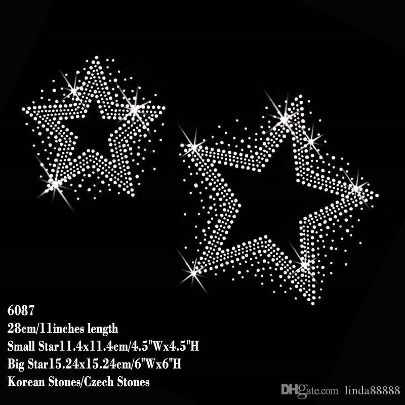 Compre Dos Estrellas / Pedazos Claro Rhinestone Hierro En Hotfix ...