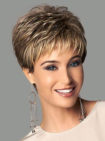 Xiu Zhi Mei Mix length Heat Resistant Synthetic Puffy Short Brown Wigs For Black Women Natural African American Wig With Bangs