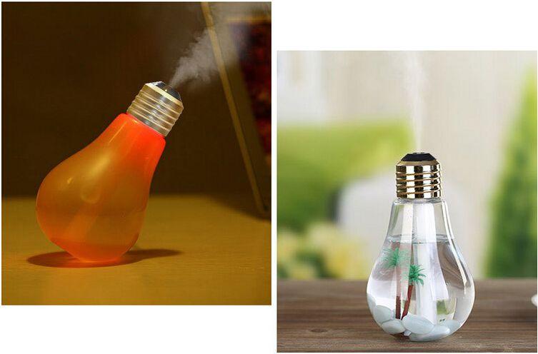 Fashion USB ultrasonic humidifier home office creative bottle Mini colorful LED night light bulb atomizer