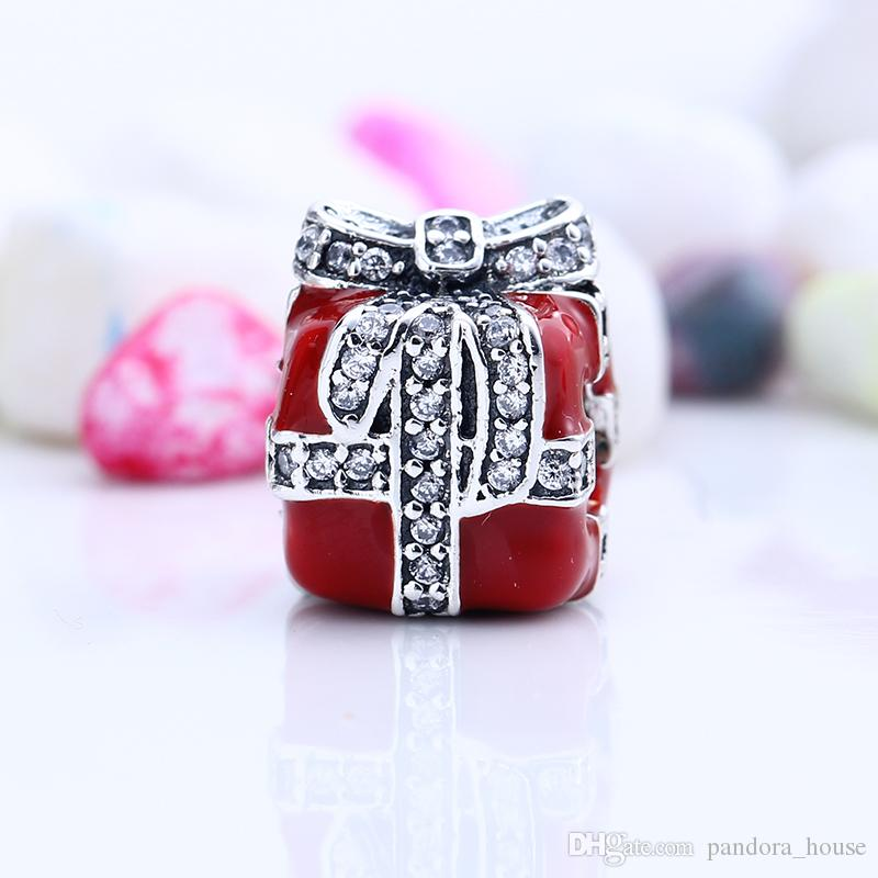 e5cab41add8c 100% Real 925 Sterling Silver Not Plated Red Gift Box CZ Charms European  Charms Beads Fit Pandora Bracelet DIY Jewelry
