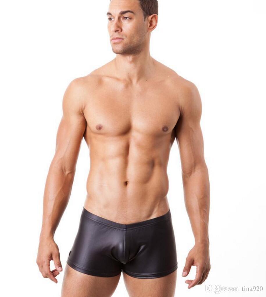 Hot New Sexy Men's Underwear Black PU Leather Boxer Fashion Briefs Underpants Size Run Small