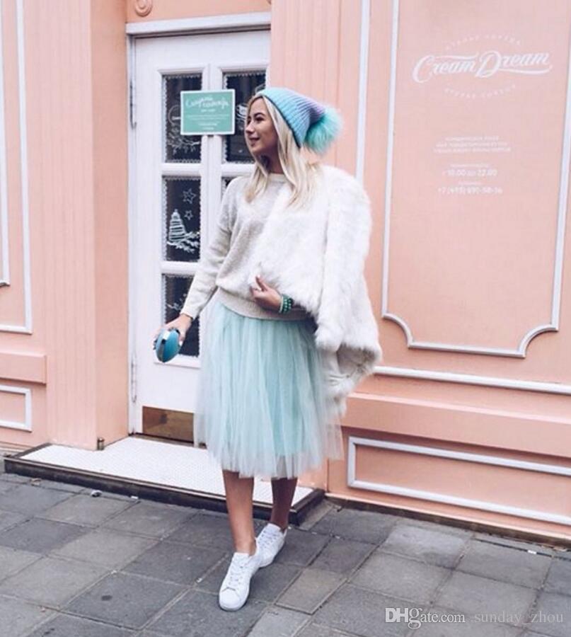 Autumn Winter Fashion Street Style Skirts Women Personalized Mint Green Tutu Skirt A Line Knee Length Tulle Skirt