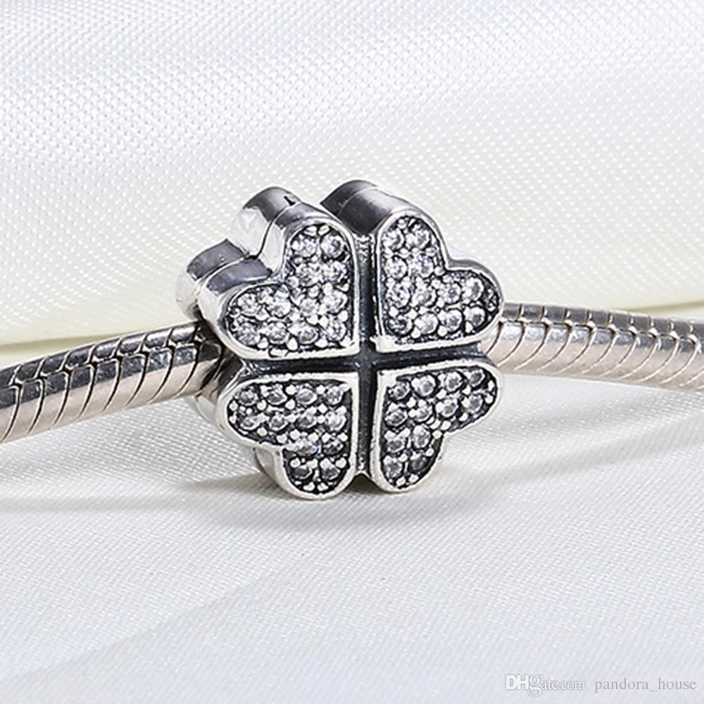 25f86df42 Authentic Real 925 Sterling Silver Four Leave Flower Cubic Zirconia ...