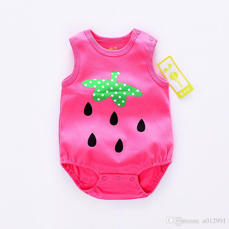 DHL free Cheap Baby Strawberry Rompers Infant Cow Jumpsuit Overall Short Sleeve Body Suit Baby Clothing Set Summer Cotton suit