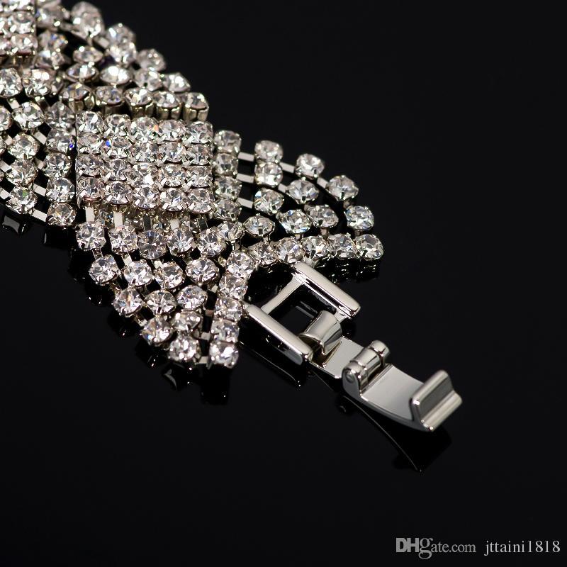 I gioielli sposa strass argento placcato braccialetti di cristallo le donne strass polsino bracciali braccialetti gioielli da sposa