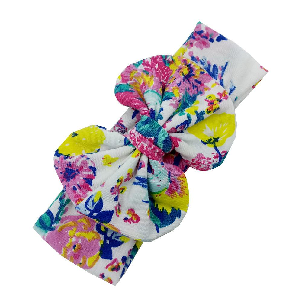 2017 New Baby Girls Big Bow Headbands Flower printed big wide bowknot hair band Children Hair Accessories Kids Headbands Hairband