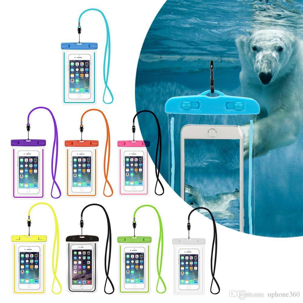 new product ccac5 68299 Outdoor Dry Bag Waterproof light liumous PVC Protective Phone Case Pouch  With Compass Pouch For Diving Swimming Sports For iphone 7 plus S8