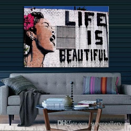 Life Is Beautiful Hand Painted Banksy Abstract Graffiti Art Oil painting,Home Decor on High Quality Canvas size can be customized