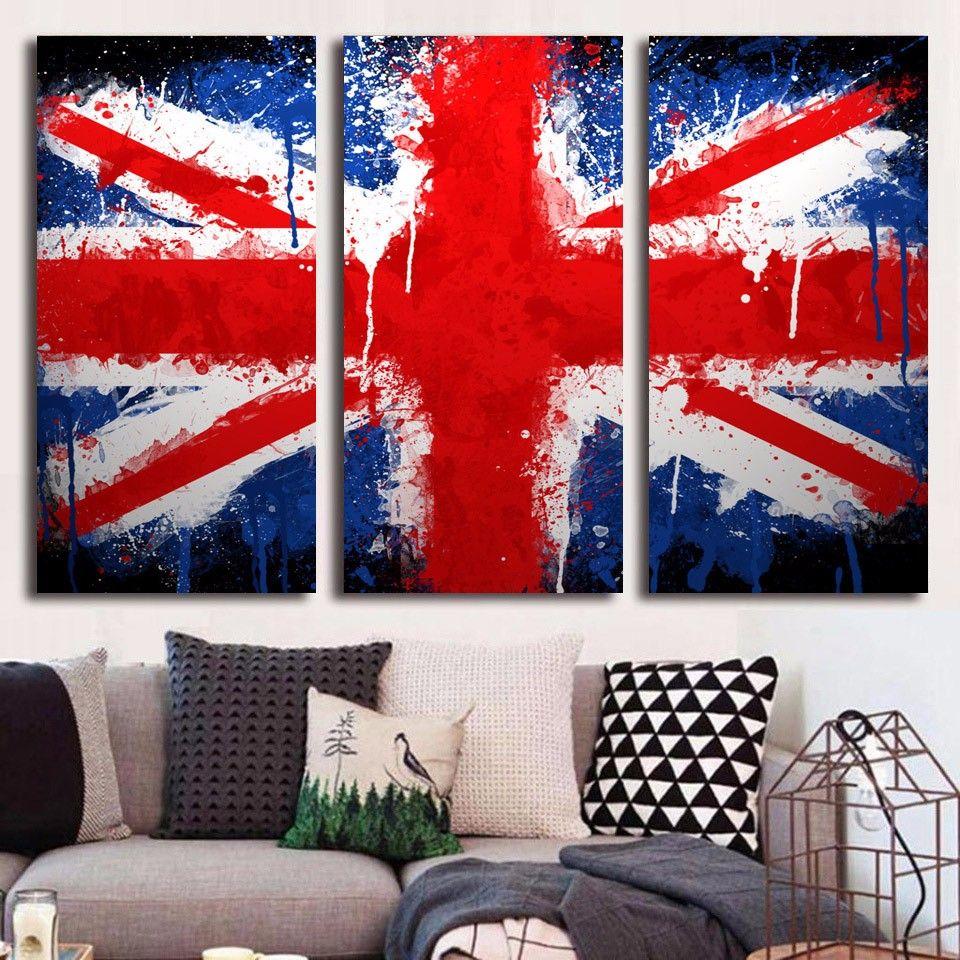 3 Pz / set HD Stampato Union Jack Pittura su tela decorazione della stanza manifesto stampa immagine dipinti su tela chitarra
