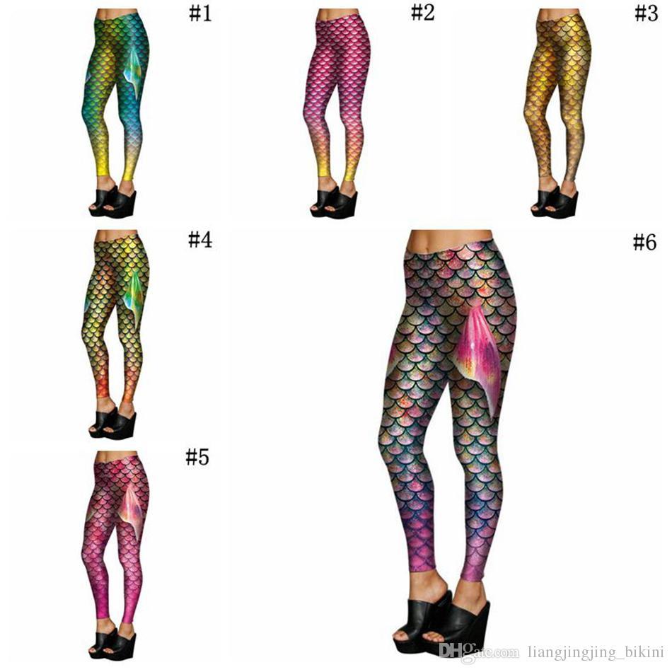 a32a0fed2be4a9 2019 Mermaid Fish Scales Leggings Women Mermaid Slim Tights Jeggings Tail  Fins Shiny Fitness Pencil Pants 6 Styles OOA3390 From Liangjingjing_bikini,  ...