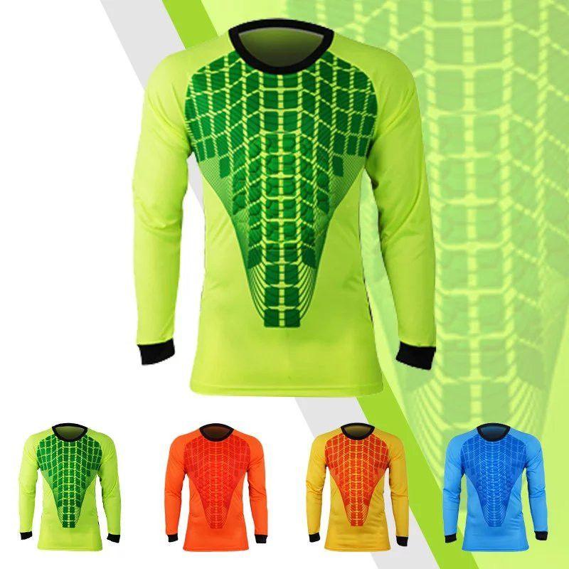 Compre   211 Hombres Camisetas De Fútbol De Portero Set Esponja De Fútbol  De Manga Larga Guardametas Uniformes Portero Deporte Entrenamiento Traje ... f8768f4bff2cc
