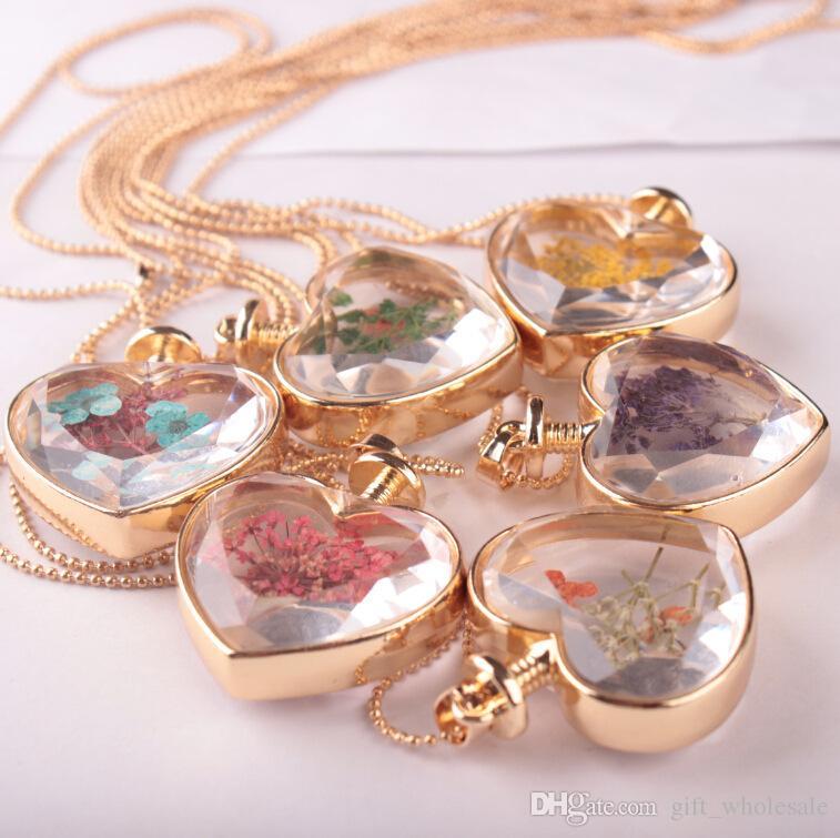 murano forma de corazón colgantes de cristal de murano aromaterapia colgante collares joyería flores secas perfume botella frasco colgantes collar