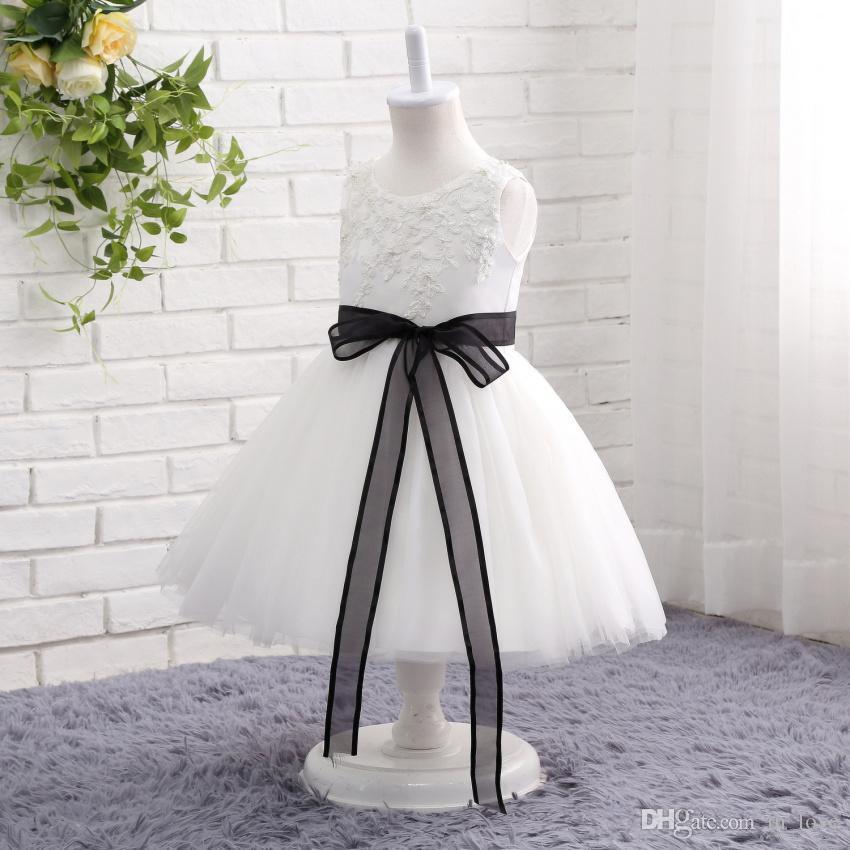 Gerçek Fotoğraf Beyaz ve Siyah Çiçek Kız Elbise Kolsuz Siyah Kurdele Kanat Dantel Tül Kızlar Doğum Günü Partisi Törenlerinde Özel Boyut