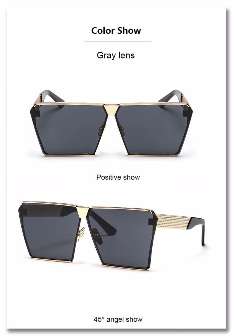 VictoryLip Mode Luxus Männer Übergroße Flache Quadrat Sonnenbrille Frauen Markendesigner Strand Metall Spiegel Objektiv Sonnenbrille Großhandel 18 Farben