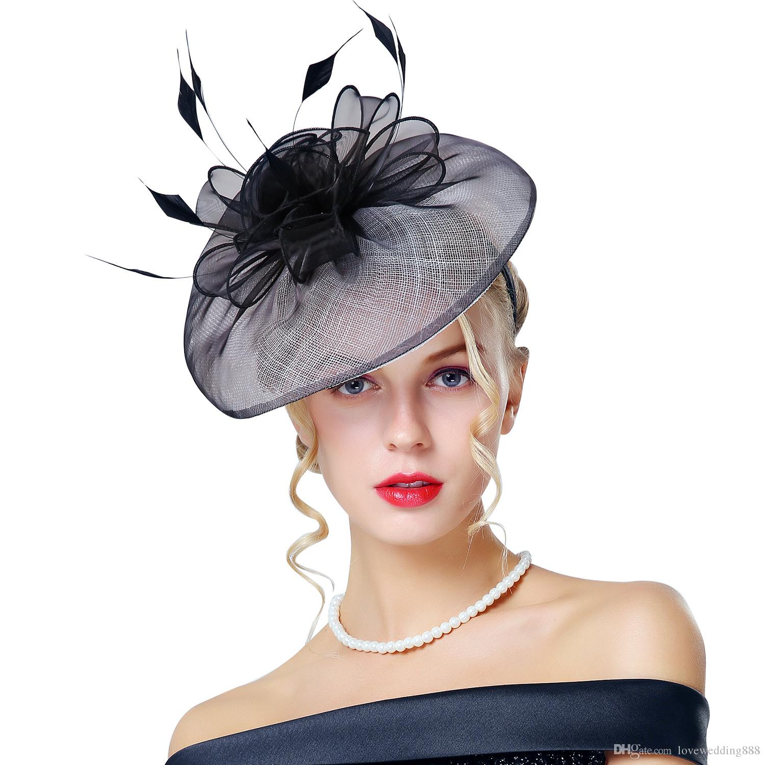 Retro Ladies Black Feather Fascinator Church Hats For Prom Party Wedding  2018 New Elegant Kentucky Derby Hats Canada 2019 From Lovewedding888 4f7b27077c6