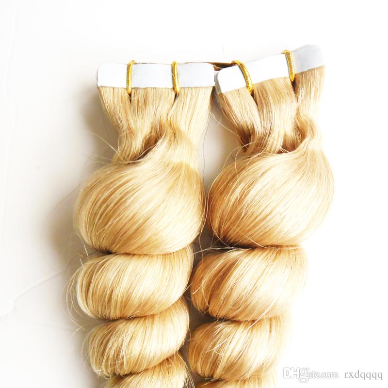 613 Bleach Blonde extensiones cabello natural adhesivas Loose wave Brazilian blonde tape in human hair extensions 100g