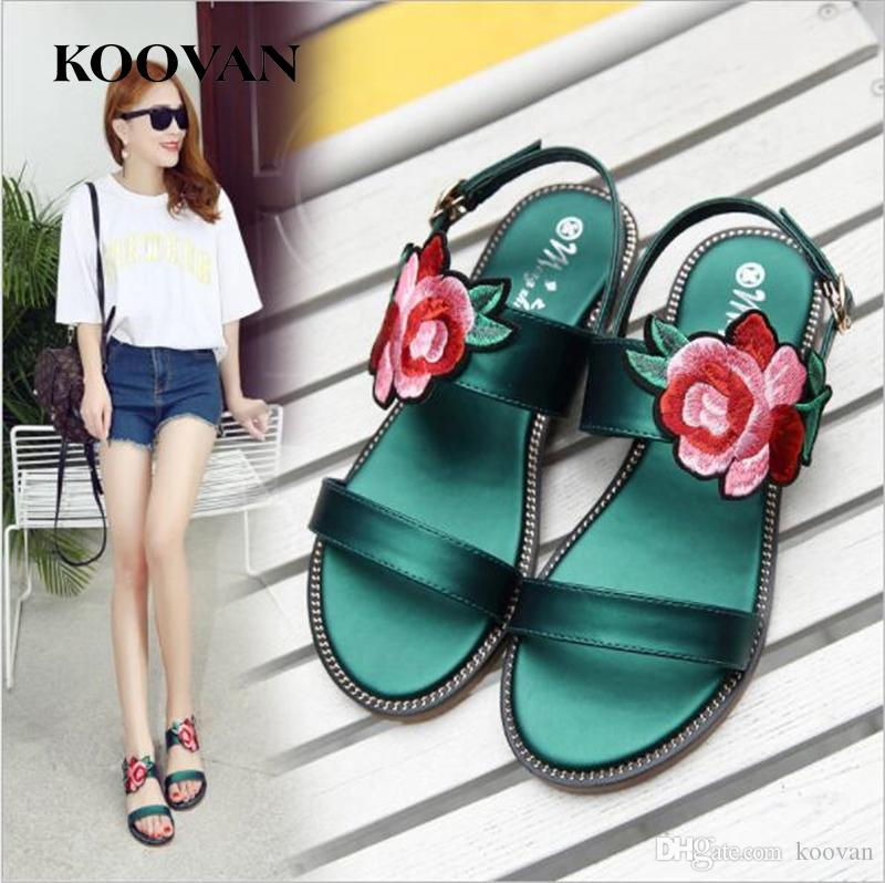 a5f7b1b21 Koovan Fashion Women Sandals 2017 New Summer Flat Bottom Embroidery Flower  Beach Sandals National Style Casual Shoes Big Size W 111 Shoes Uk Flat  Sandals ...