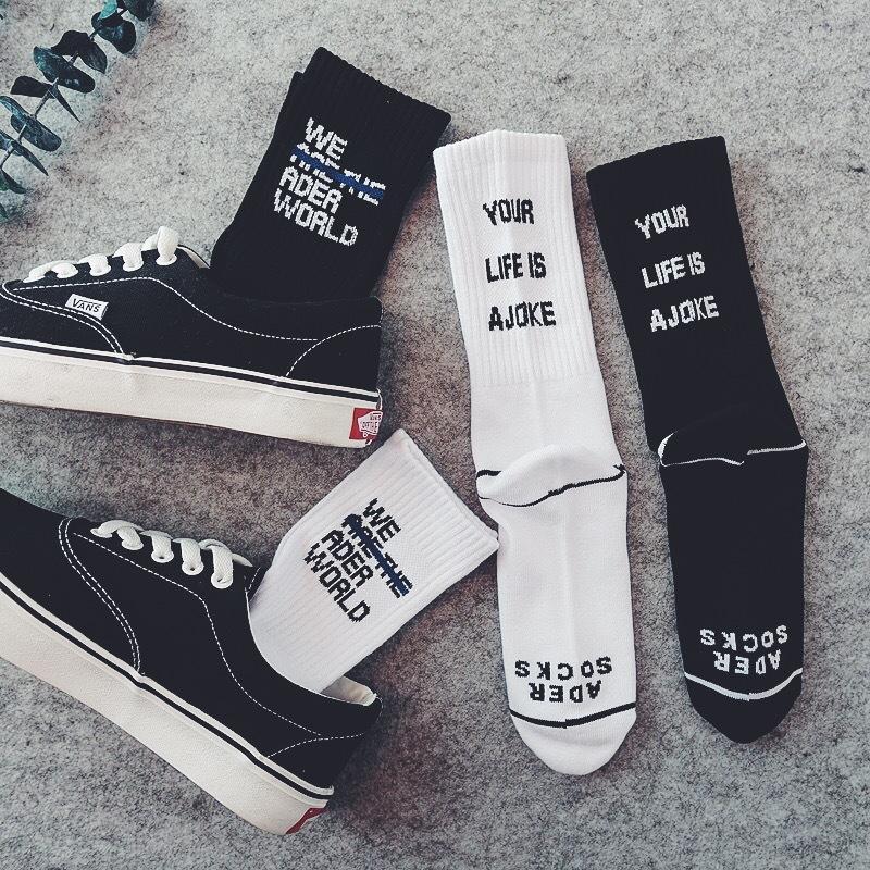 2017 kreative Männer Gestreiften Brief ADER In Der Tube Socken Baumwolle Flut Marke Harajuku Hip Hop MenWomen Casual Socken