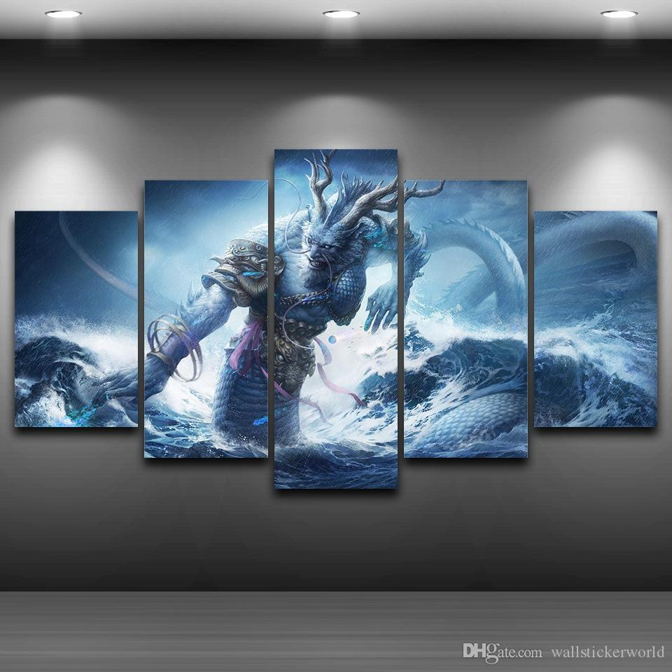 Dragon King Framed wall art picture Spray Oil Painting Decoration Printed Home Decor Artistic Printed Drawing on Canvas