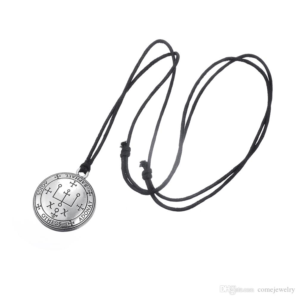 Fashion Simple design Sigil of Archangel Raphael Enochian Key of Solomon Talisman Amulet Angel Rope Necklace