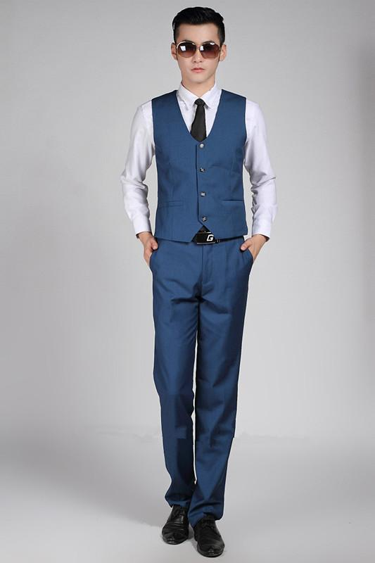Man Wedding Costume Commerce British Style Homme Gentleman Gilets Best Bureau Formel Gros Vest De Royal Blue Groom Business ARj4qc5L3