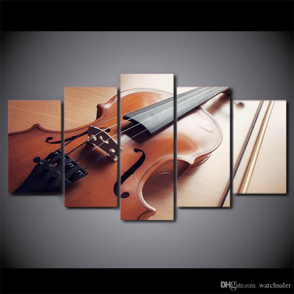 HD Printed Canvas Art Classical Violin Painting Music Instrument Wall Pictures for Living Room