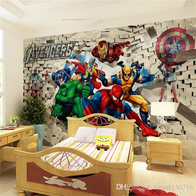 Adesivi murali di arte della pittura della parete del fondo del muro di mattoni di Hulk Spiderman 3D di arte della parete di carta su ordinazione del passeggero