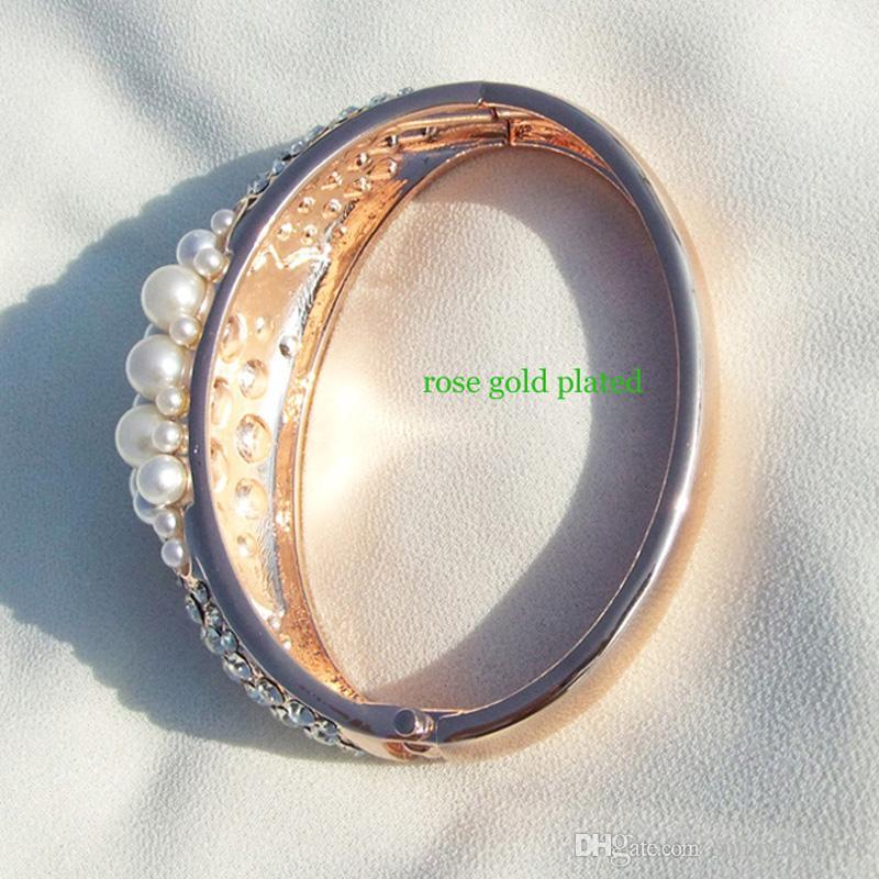 Design Top Quality Rhinestone Faux Pearl Wedding Bracelets Rose Gold Plated Metal Cuff Bracelet for Women Bride Bangle Jewelry