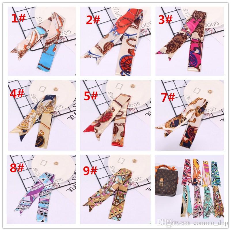 Mode Multifunktions Print Schal für Handtaschen Griff 17 Farben Kopf wickeln Schals Band Damen Turban Dreieck Stirnband Seidenschals