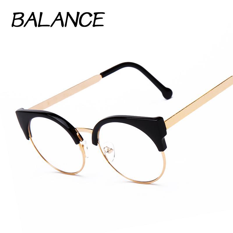 199d357e6e20 Wholesale- Women cat eye Plain Glasses half Frame Clear lens round  Eyeglasses Sexy Cat's Eye Vintage Glasses frames Brand Designer Glasses