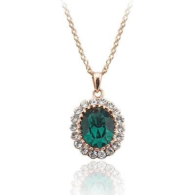 Oval created emerald pendants necklace for women green crystal rose oval created emerald pendants necklace for women green crystal rose gold color chain necklaces wedding party jewelry bijoux high quality chain neckla china aloadofball Choice Image
