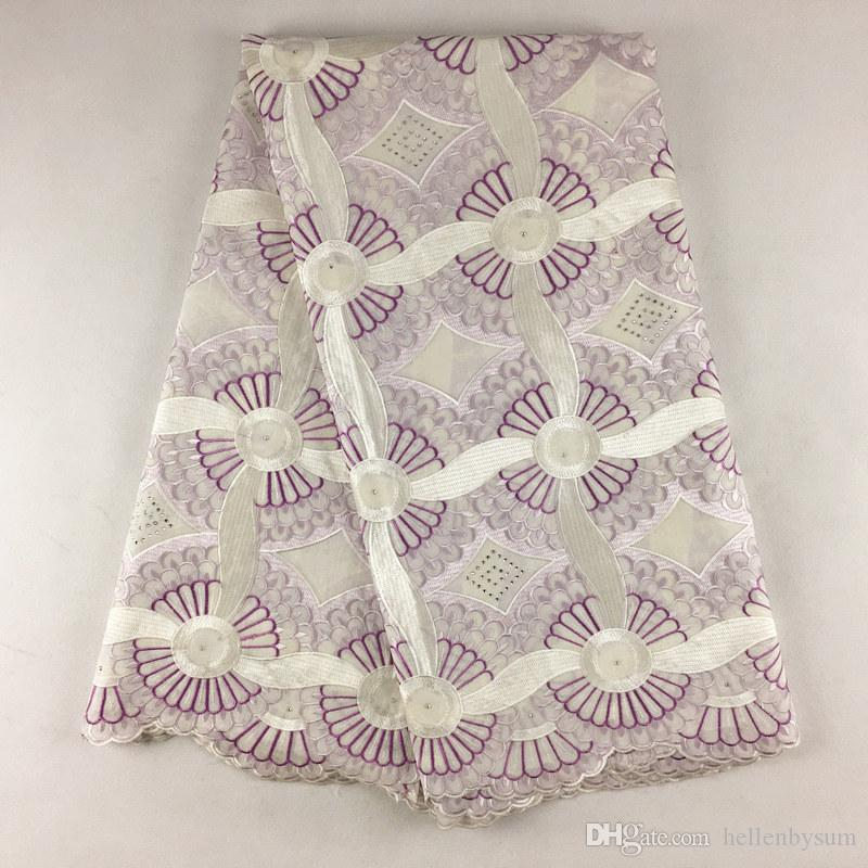 Suisse africaine de haute qualité en dentelle de voile 079, Livraison gratuite 5 yards / pack, 100% coton vêtements de dentelle de voile de fête de mariage africain