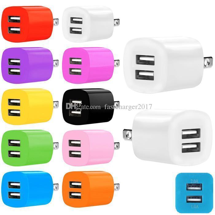 Carregadores de telefone 2.1A Dual USB Portas US EU AC Home Wall Carregador Plug Adaptador para iPhone Samsung S6 S7 Edge Telefones Smart