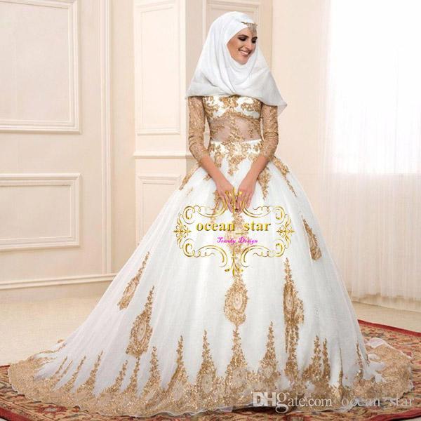 Großhandel Gold Und Weiße Islamische Brautkleider Ballkleid Türkei ...