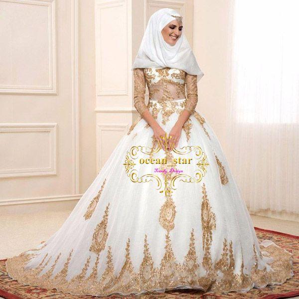 compre vestidos de boda islámicos oro blanco y negro turquía vestido