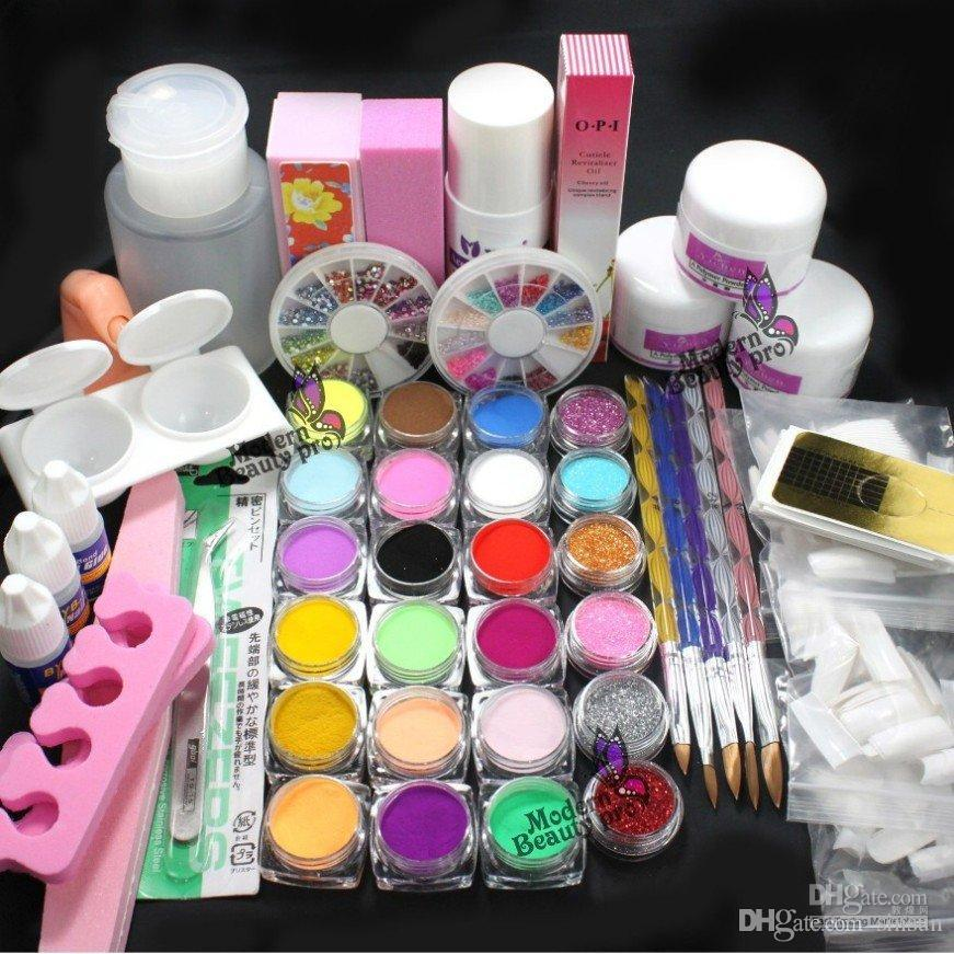 Pro Full Acrylic Glitter Powder Glue French Nail Art 500 Tip Brush ...