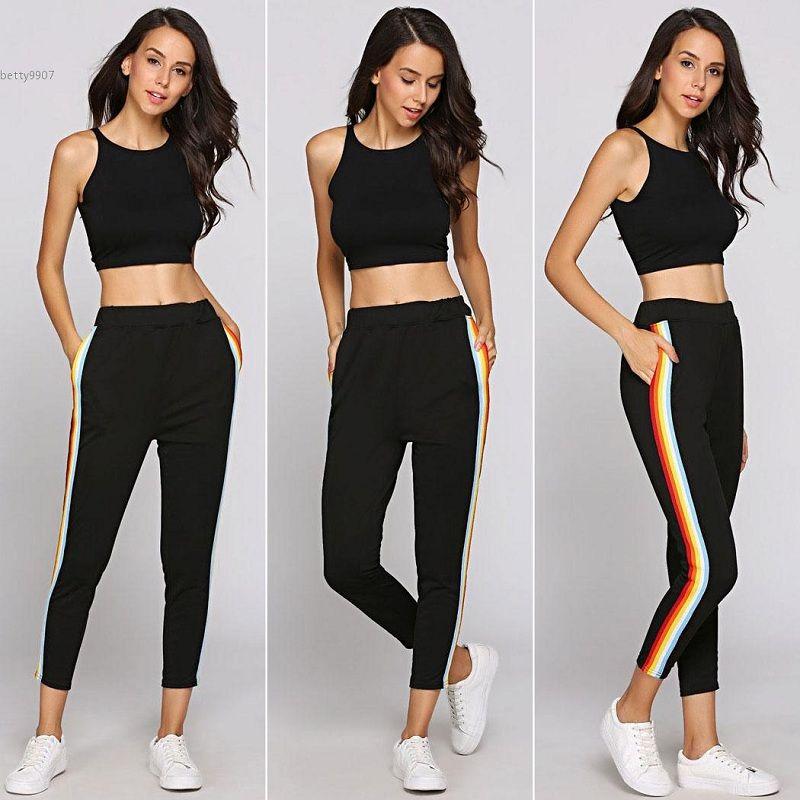 667f8d171b6445 2019 2018 New Designer Fitness Sweatpants For Women Clothing Contrast  Rainbow Stripe Pants Mid Waist Straight Elastic Waist From Betty9907