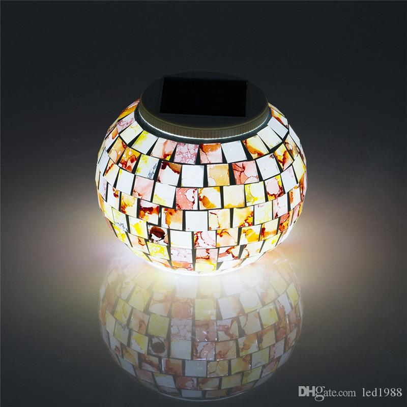 2018 mini solar powered mosaic glass ball led garden lights colorful